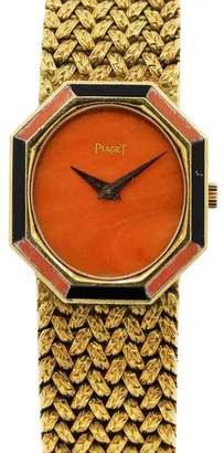 P341D2 18K Yellow Gold Coral & Onyx Vintage Womens Watch