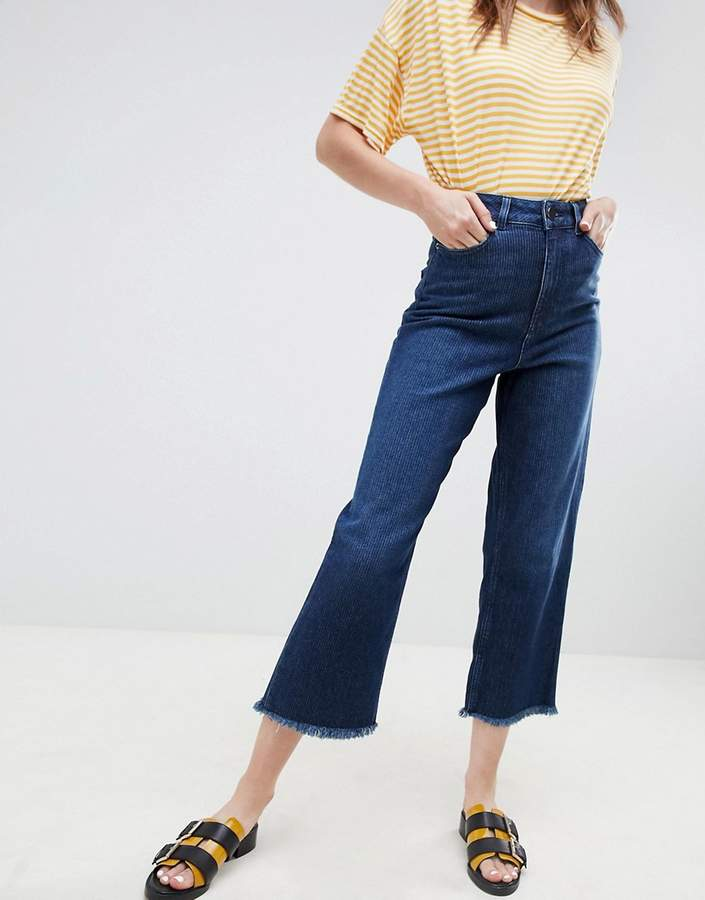 ASOS DESIGN wide leg jeans in dark stonewash blue textured stripe