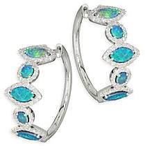 Meira T Pavé Diamond, Opal & 14K White Gold Hoop Earrings