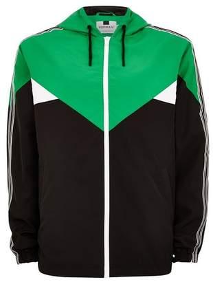 Topman Mens Multi Color Block Side Stripe Windbreaker Jacket