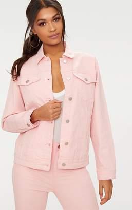 PrettyLittleThing Baby Pink Boyfriend Fit Denim Jacket