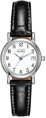 Citizen Women's Eco-Drive Watch with White Dail Analogue Display and Black Leather Strap EW1270-06A