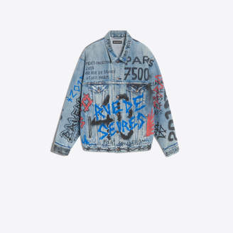 Balenciaga Oversize denim jacket with seasonal graffitis