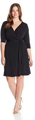 NY Collection Women's Plus-Size B-Slim 3/4 Sleeve Solid ITY Dress