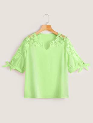 Shein Plus Guipure Lace Knot Cuff Neon Lime Blouse