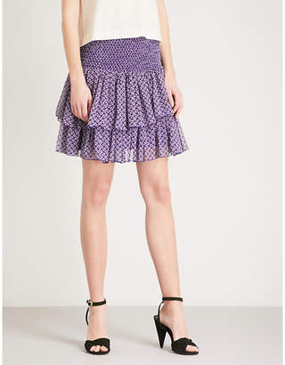 Maje Floral-print chiffon skirt