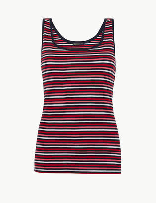 6c1b5f005d3562 M&S CollectionMarks and Spencer Pure Cotton Striped Regular Fit Vest Top