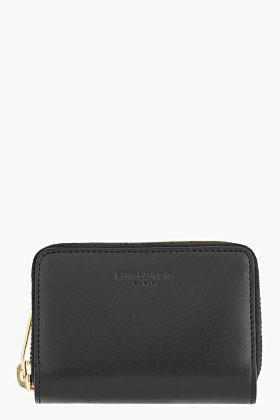 Saint Laurent Black leather zip-around wallet
