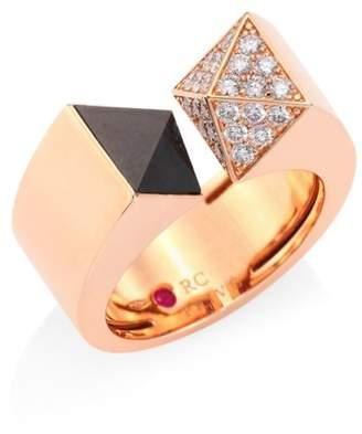 Roberto Coin Sauvage Prive Pyramid Pave Diamond, Black Jade & 18K Rose Gold Ring