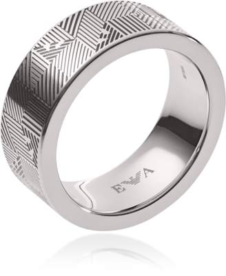 Emporio Armani Stainless Steel Geometric Eagle Men's Ring