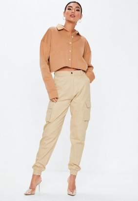 Missguided Camel Collar Button Front Cropped Sweatshirt