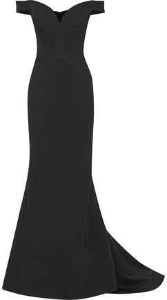 Off-The-Shoulder Fluted Satin-Crepe Gown