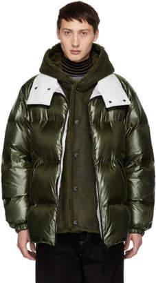 Yves Salomon Green Down Merino Shearling Coat
