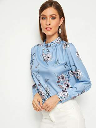 Shein Mock-Neck Shirred Cuff Floral Print Top