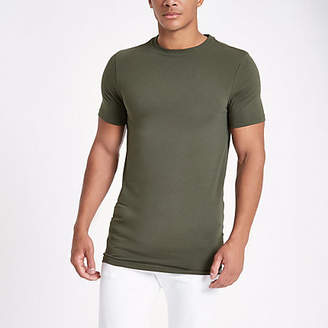 River Island Mens Green muscle fit crew neck t-shirt