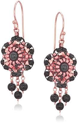 Miguel Ases Women's 3D Dahlia Triple Onyx Wrap Dangle Drop Earrings