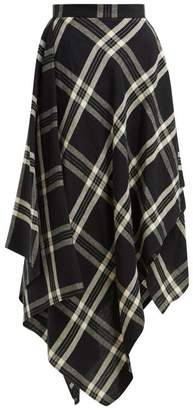 Vivienne Westwood Tartan Handkerchief Hem Linen Midi Skirt - Womens - Black Multi