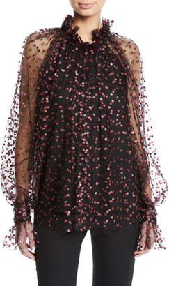 Monique Lhuillier Glitter-Confetti Frilled Tulle Blouse