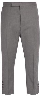 Thom Browne Tri Colour Cuff Trim Wool Trousers - Mens - Grey