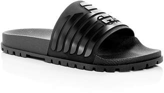Giorgio Armani Men's Embossed Logo Slide Sandals