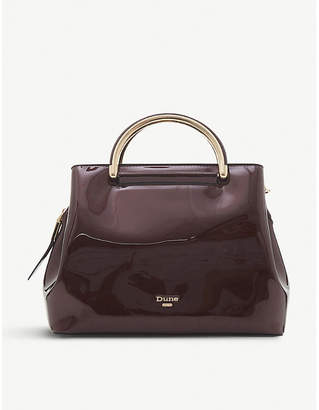 Dune Berry Red Daandelion Faux Leather Varnished Tote Bag