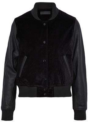 Rag & Bone Leather-Paneled Velvet Bomber Jacket