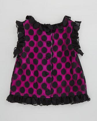 Milly Minis Chloe Polka-Dot Top, Black/Pink, Sizes 2-6