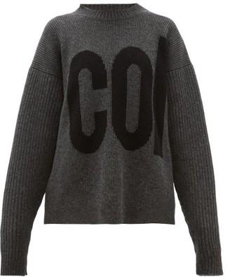 Colville - Logo Intarsia Dropped Sleeve Wool Sweater - Womens - Dark Grey