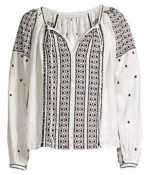 Frame Women's Anita Embroidered Linen Peasant Top