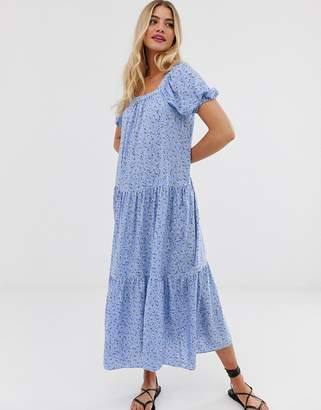 New Look smock maxi dress in blue floral print