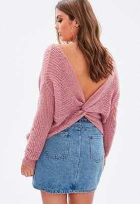 Missguided Curve Pink FLuffy Yarn Twist Back Sweater