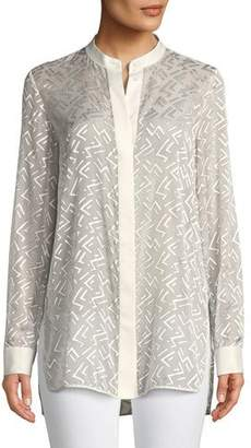 Lafayette 148 New York Brayden Succession Burnout Velvet Blouse, Plus Size
