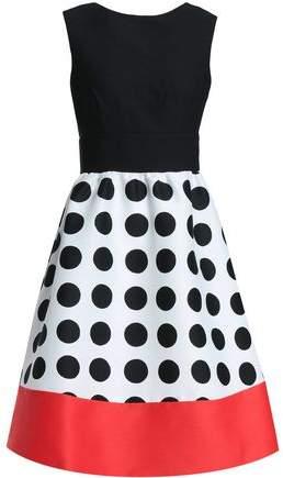 Flared Polka-Dot Crepe Dress