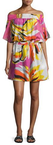 Emilio Pucci Emilio Pucci Fiore Maya Printed Off-the-Shoulder Coverup Dress, Pink/Yellow/White