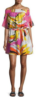Emilio Pucci Fiore Maya Printed Off-the-Shoulder Coverup Dress, Pink/Yellow/White $930 thestylecure.com