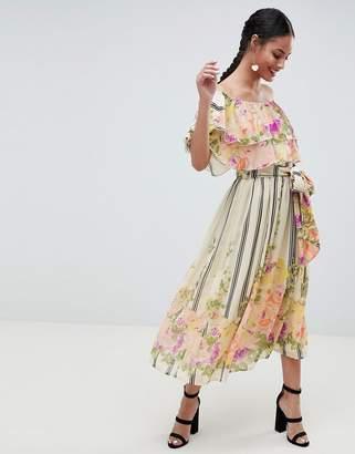 Asos DESIGN Ruffle Top Bandeau Midi Dress In Floral Stripe Print