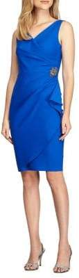 Alex Evenings Faux Wrap Brooch Dress