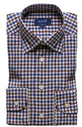 Eton Soft Collection Contemporary Fit Check Cotton & Linen Dress Shirt