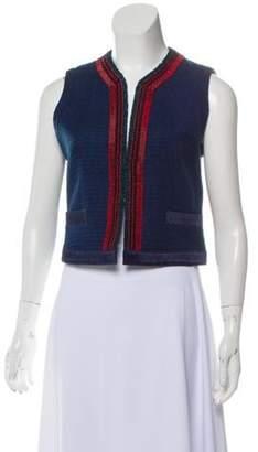 Etro Embellished Collarless Vest Blue Embellished Collarless Vest