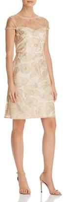 Adrianna Papell Metallic Embroidered Dress