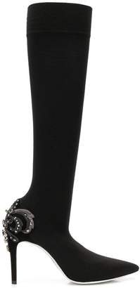 Rene Caovilla embellished heel knee-high boots