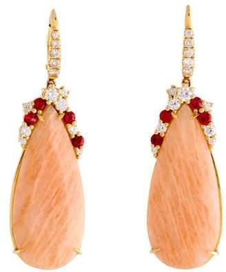 Rina Limor Fine Jewelry 18K Orange Moonstone, Diamond & Orange Sapphire Drop Earrings