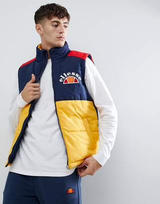 Ellesse Sorbo padded block panel vest in navy