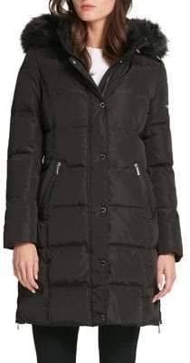 DKNY Quilted Faux Fur-Trimmed Jacket