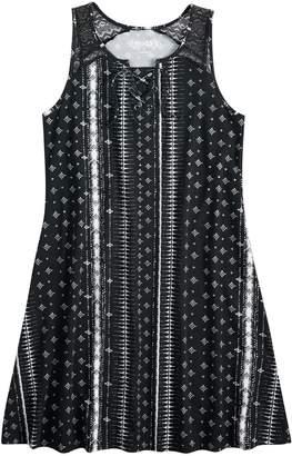 Mudd Girls 7-16 Printed Crochet Dress