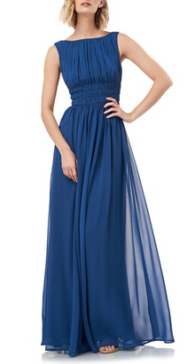 Kay Unger Sleeveless Fit & Flare Chiffon Evening Gown