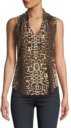 Veronica Beard Bertrand Leopard-Print Sleeveless Blouse