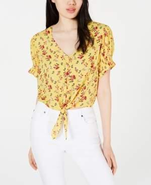Self Esteem Juniors' Printed Tie-Front Cropped Blouse