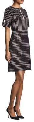 Piazza Sempione Striped Zip-Placket Dress