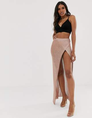 Sorelle UK knitted shimmer wrap maxi skirt with high thigh split in rose gold